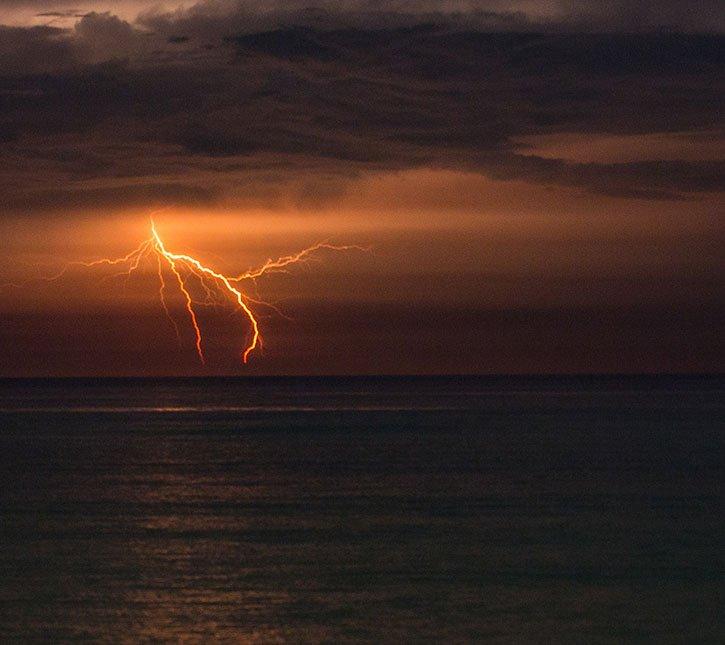 Lightening storm over ocean emergency preparedness